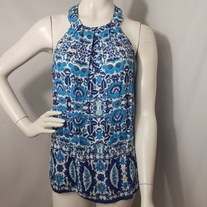 Lucy & Laurel Blue Floral Sleeveless Blouse